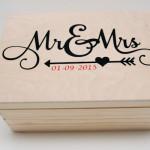 Houten doos Mr Mrs met trouwdatum