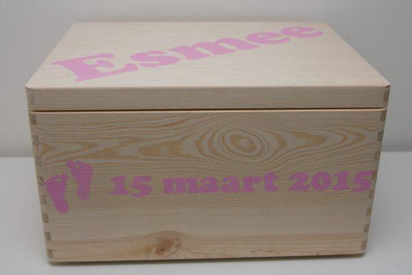 Houten doos met naam - Esmee